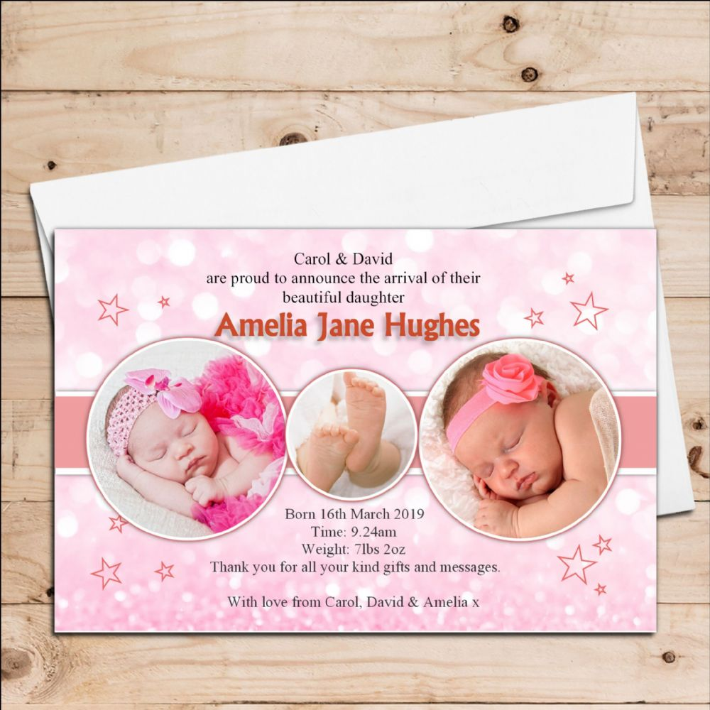 Birth Announcement Cards – Announcement of Birth of Baby Girl